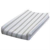 Go Mama Go Blue with Chocolate Stripes Changing Pad Cover