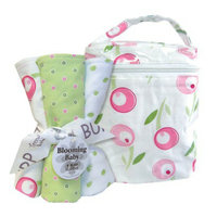 Trend Lab Tulip Bottle Bag and Burp Cloths - Set of Four by Lab