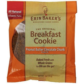 Erin Baker's Breakfast Cookie Peanut Butter Chocolate Chunk, Vegan, 3-Ounce Individually Wrapped Cookies (Pack of 12)