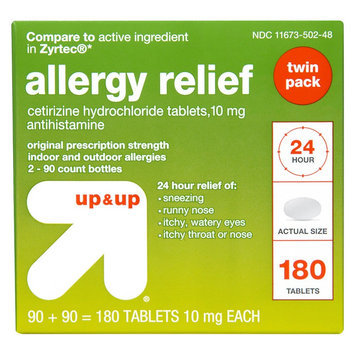 up & up 24 Hour Allergy Relief Hydrochloride Tablets - 180 Count