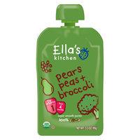 Ella's Kitchen Stage 1 Pears Peas & Broccoli Organic Pureed Baby Food 3.5 oz