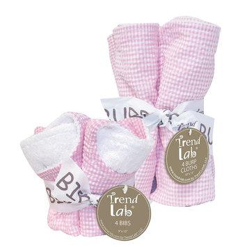 Trend Lab 20934 Pink Gingham- Bib Bouquet And Burp Bouquet- Set