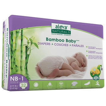 Aleva Naturals BAMBOO BABY DIAPERS SIZE NB 1 4-9LBS/2-4KG 32CT 6 PCK OF 32CT