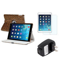 Insten INSTEN Brown Leopard 360 Leather Case Cover+Protector+Charger For Apple iPad Air 5 5th Gen