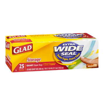 Glad Zipper Bags Storage Quart - 25 CT