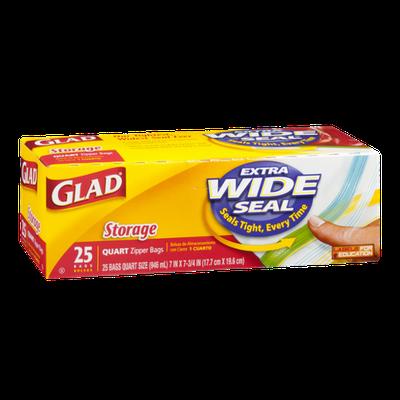 Glad Zipper Bags Storage Quart - 25 CT