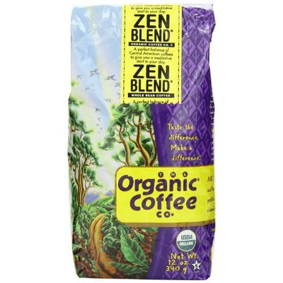 The Organic Coffee Co. Whole Bean, Zen Blend, 12 Ounce (Pack of 2)