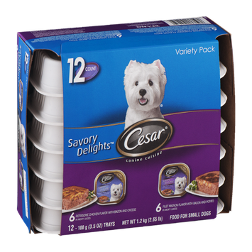 Cesar Wet Dog Food Variety Pack Savory Delights Rotisserie Chicken/Filet Mignon - 12 CT