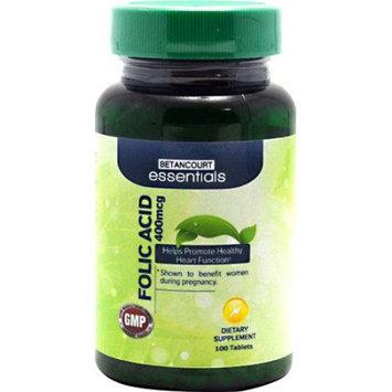 BETANCOURT ESSENTIALS Betancourt Essentials Folic Acid, 100 Tablets - 400 mcg