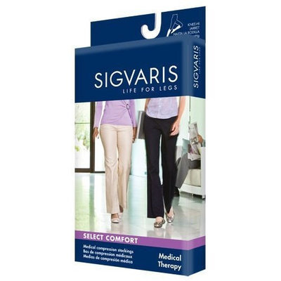 Sigvaris 860 Select Comfort Series 30-40 mmHg Women's Closed Toe Knee High Sock Size: M4, Color: Dark Navy 08