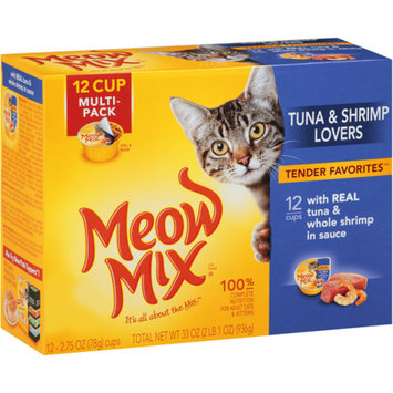 Meow Mix Tender Favorites With Real Tuna & Whole Shrimp in Sauce Wet Cat Food, 2.75-Ounce Cups (Pack of 12)