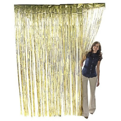 Fun Express Gold Metallic Foil Fringe Curtain 36