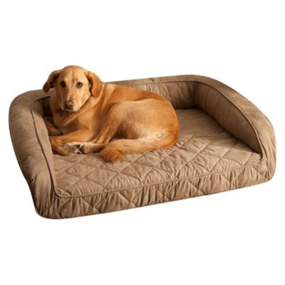 Buddy Beds, LLC Buddy Beds Memory Foam Bolster Dog Bed -Taupe (Large)
