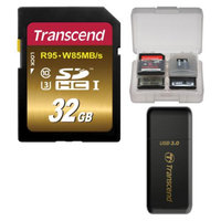 Transcend 32GB SecureDigital SDHC UHS-3 R95/W85 MB/S Memory Card with 3.0 Card Reader + Card Case