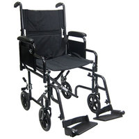 Karman 19 inch Steel Transport Chair with Removable Armrests