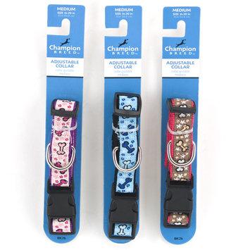 Champion Breed Adjustable Dog Collar with Bone Printed Ribbon, 3/4