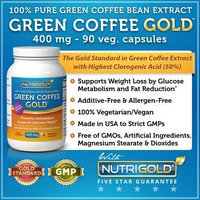Nutrigold 100% Pure Green Coffee Bean Extract, 400 mg, 90 Veg. Capsules (The GOLD Standard Green Coffee Extract, with 50% Chlorogenic Acid) 800mg per Serving