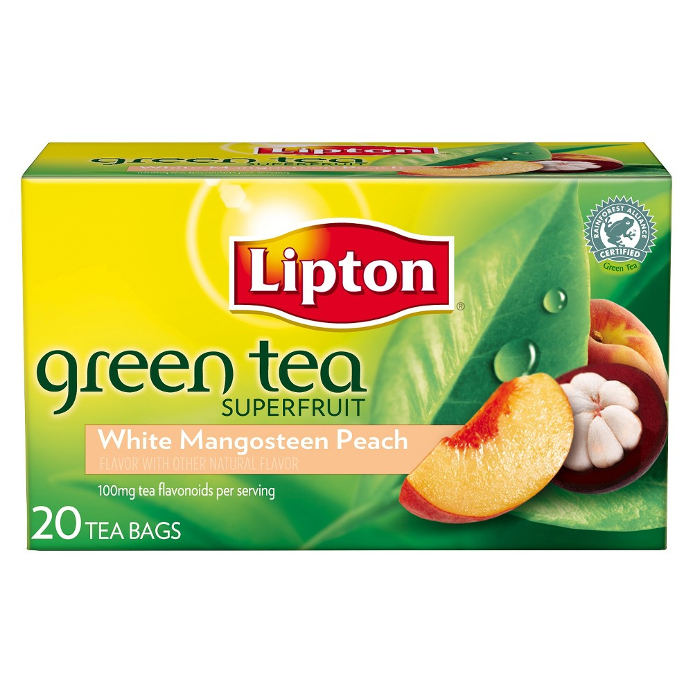 Lipton White Mangosteen Peach Green Tea Superfruit 20 ct