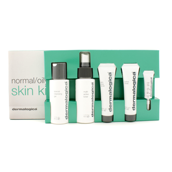 Dermalogica Normal/ Oily Skin Kit: Cleansing Gel + Toner + Face Scrub + Active Moist + Eye Care 5pcs