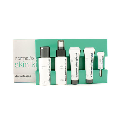Dermalogica Normal/ Oily Skin Kit: Cleansing Gel + Toner + Face Scrub + Active Moist + Eye Care 5pcs