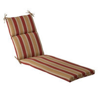 Pillow Perfect Outdoor Chaise Lounge Cushion - Tan/Red Stripe