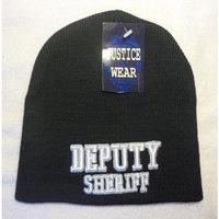 Deputy Sheriff Law Enforcement Black Skull Cap - Cuffless Beanie Hat
