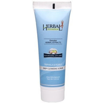 Herbal Destination Facial Scrub, Deep Cleansing Pore Cleanser, Triphala and Pearls based Face Wash; 3.52 Ozs