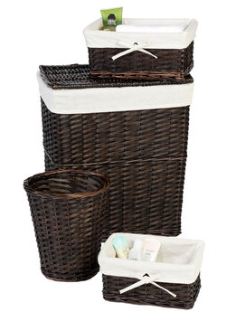 Creative Bath Products Inc. Lancaster Dark Brown Espresso 4 Pc. Wicker Hamper Set - CREATIVE BATH PRODUCTS, INC.