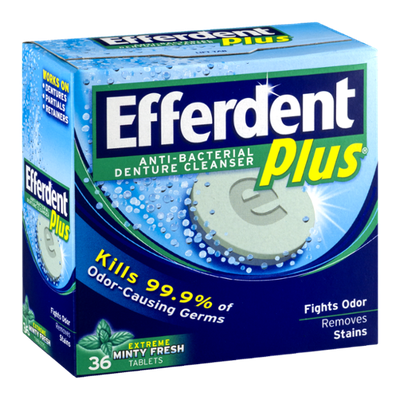 Efferdent Plus Anti-Bacterial Denture Cleanser Tablets Extreme Minty Fresh