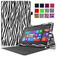 Fintie Folio Leather Case Cover for Microsoft Surface RT / Surface 2 10.6 inch Tablet, Zebra Black