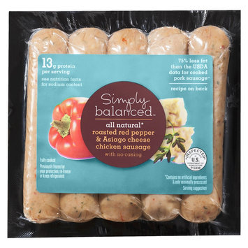 Simply Balanced All Natural Roasted Red Pepper & Asiago Cheese Chicken Sausage 12 oz