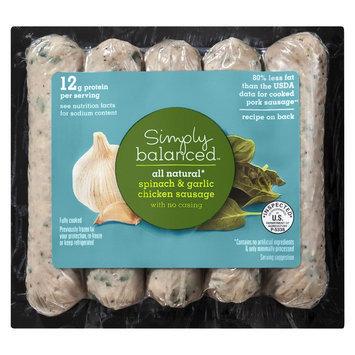 Simply Balanced All Natural Spinach & Garlic Chicken Sausage 12 oz