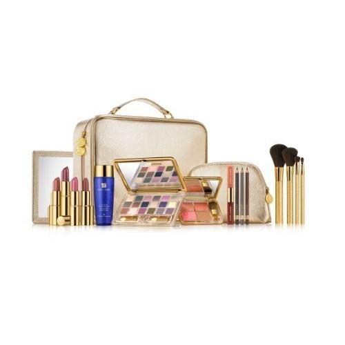 Estée Lauder Blockbuster Gold Makeup Set Train Case 18pc