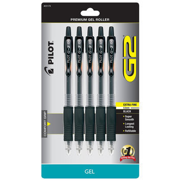Pilot Corporation Of America Pilot G2 5ct Black Extra Fine Tip Gel Ink Pen, None