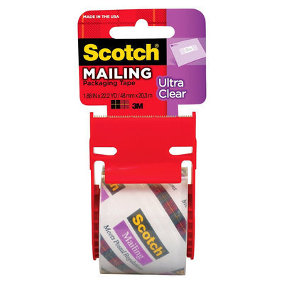 Scotch Ultra Clear Mailing Packaging Tape 1.88in x 22.2-yd.