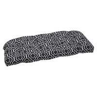 Pillow Perfect Outdoor Wicker Loveseat Cushion Set -Black/White Starlet