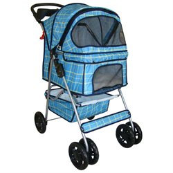 BestPet Classic 4 Wheel Blue Grid Pet Stroller