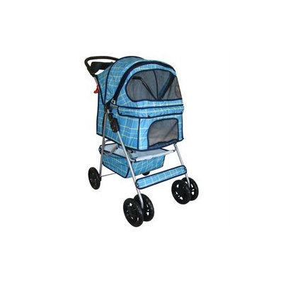 BestPet Classic 4 Wheel Blue Grid Pet Stroller