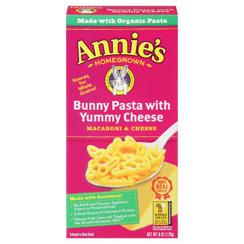 Annie's Homegrown Totally Natural Bunny Pasta with Yummy Cheese Mix 6 oz