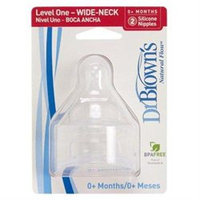 Dr Brown's Natural Flow Level 1 Wide Necked Teats Twin Pack