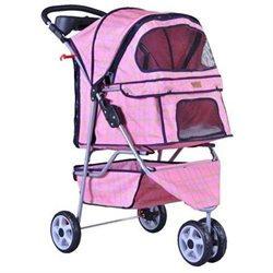 Bestpet 3 Wheels Pink Grid Pet Dog Cat Stroller