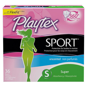 Playtex Sport Plastic Applicator Unscented Super Absorbency Tampons