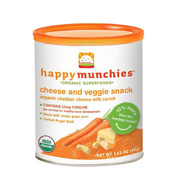 Happy Baby Happy Munchies Baked Organic Cheese & Veggie Snack - Cheddar Cheese with Carrot (6 Pack)