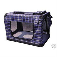 Petdoghouse 36 Portable Blue Plaid Pet Dog House Soft Crate Cage