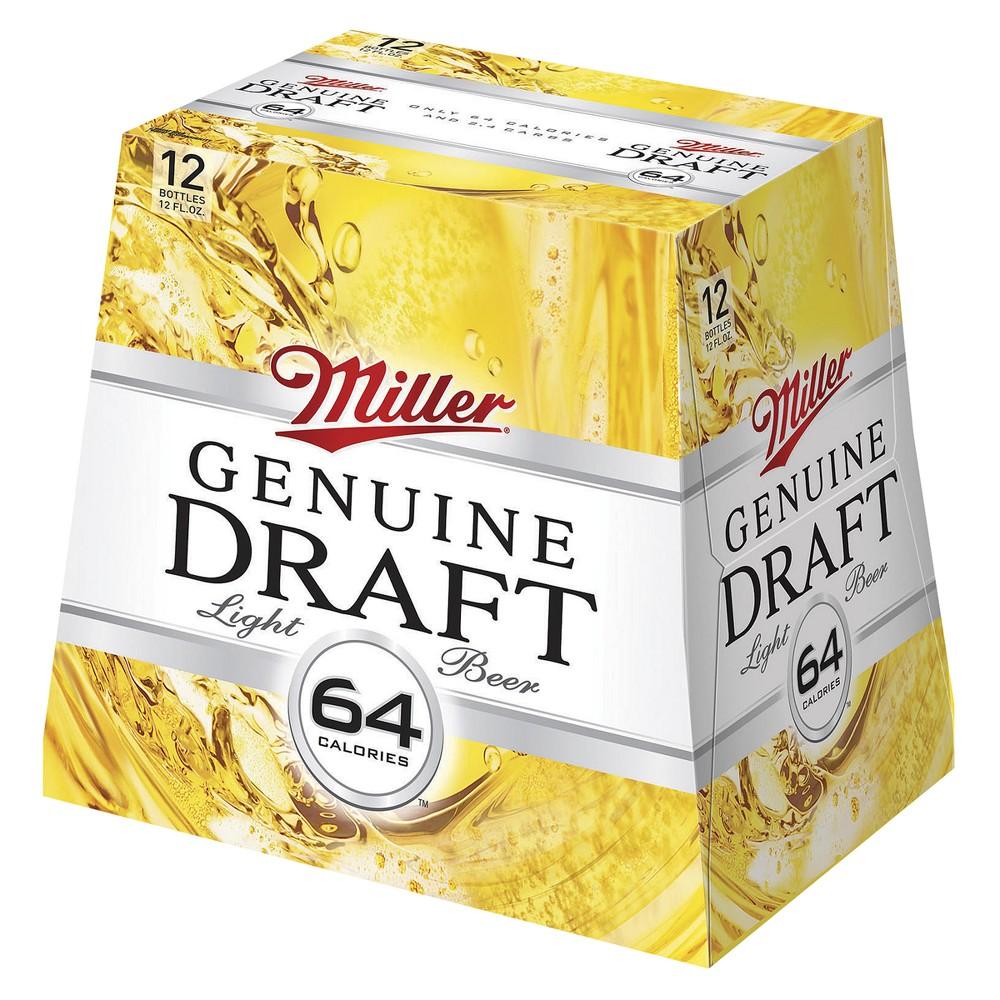 Miller Genuine Draft Light Beer Bottles 12 oz, 12 pk