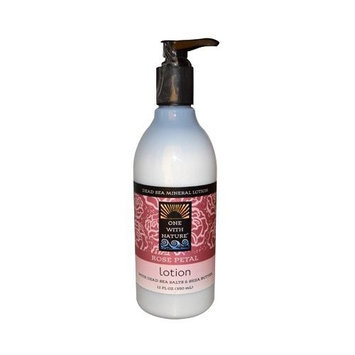 One With Nature Dead Sea Mineral Lotion with Dead Sea Salts and Shea Butter Rose Petal, 12 Fluid Ounce