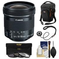 Canon EF-S 10-18mm f/4.5-5.6 IS STM Zoom Lens with Case + 3 UV/CPL/ND8 Filters + Kit for EOS 70D, 7D, Rebel T3, T3i, T4i, T5, T5i, SL1 DSLR Cameras