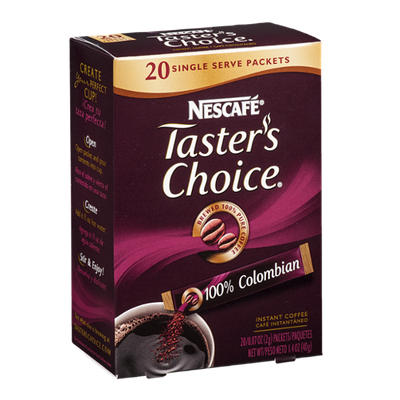 Nescafe Tatster's Choice Instant Coffee 100% Colombian - 20 CT
