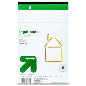 up & up 250ct White/Yellow Legal Pads