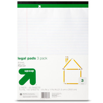 Up & Up Tops 8 1/2 x 11 3/4 The Legal Pad Legal Rule Perforated Pads- Canary (50 Sht Pads, 3 per Pack)